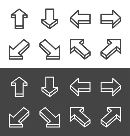 isometric arrow thin line icon set,vector and illustration