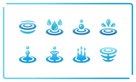 colorful and gradient water and ripple icon set,vector and illustration