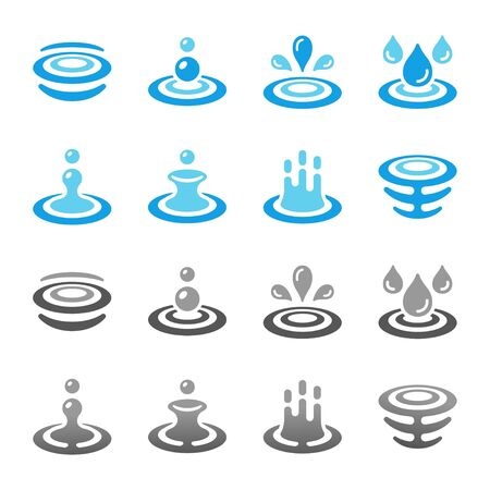 colorful and gradient water and ripple icon set,vector and illustration Stock Vector - 130772046