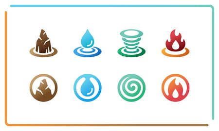 colorful and gradient of four element icon set,vector and illustration