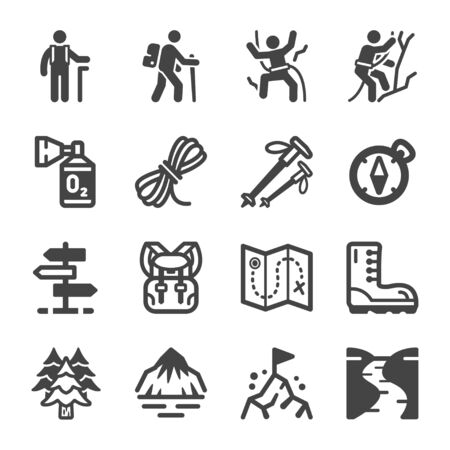 hike and trekking icon set,vector and illustration Çizim