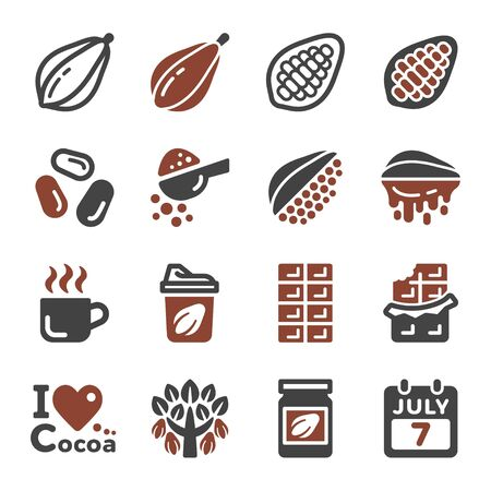 chocolate and cocoa icon set,vector and illustration Ilustração
