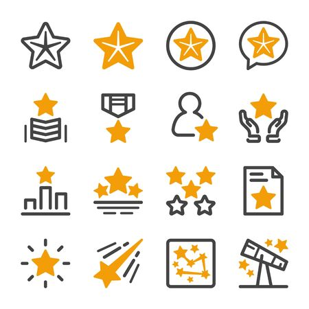 five star icon,flat line style,vector and illustration