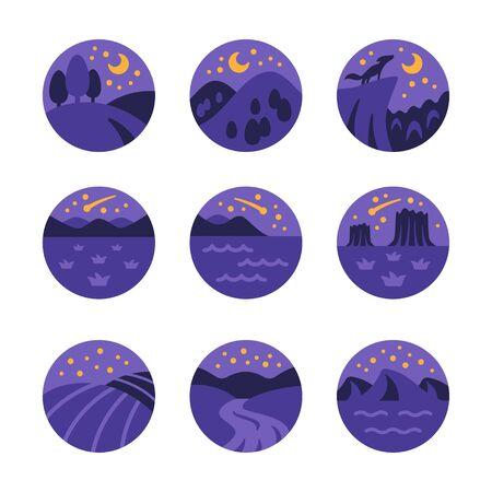 night landscape and nature icon set,vector and illustration Ilustração