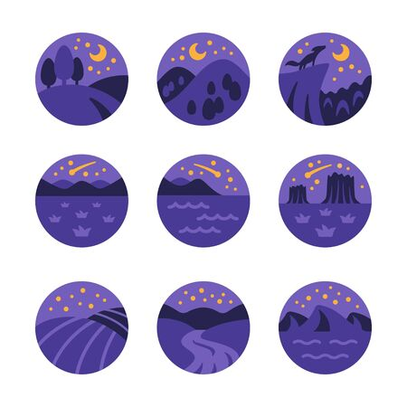 night landscape and nature icon set,vector and illustration Illustration