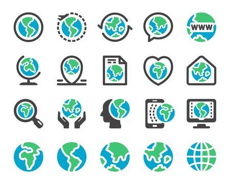 earth and globe icon set,vector and illustration Ilustração
