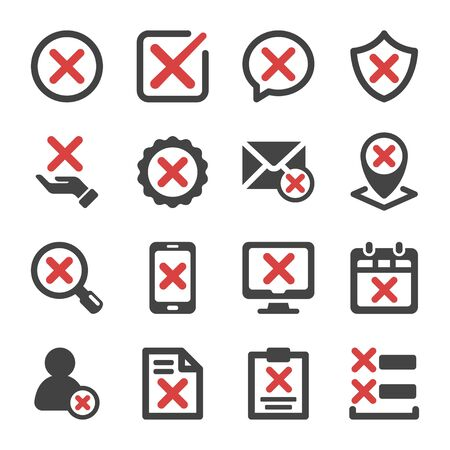reject and false check icon set,vector and illustration