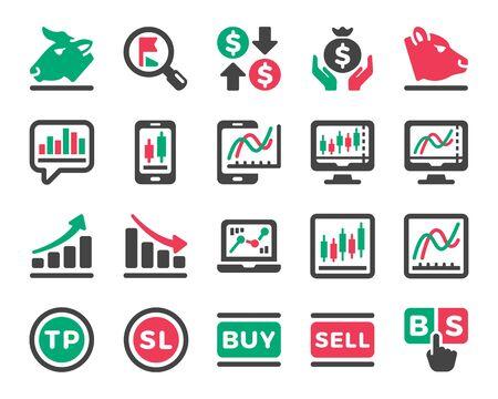 marché boursier en ligne et jeu d'icônes d'investissement boursier, vecteur et illustration Vecteurs