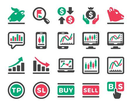stock market online and stock investment icon set,vector and illustration Ilustrace