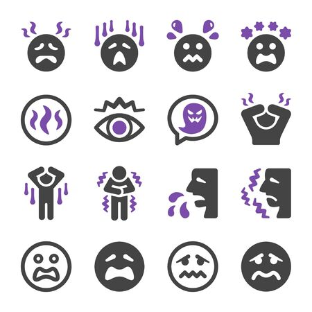 fear and scare emotion icon set,vector and illustration Çizim