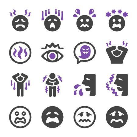 fear and scare emotion icon set,vector and illustration Ilustração