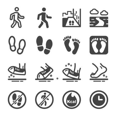 walking and footprint icon set,vector and illustration Illustration