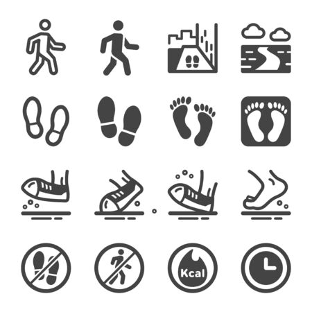 walking and footprint icon set,vector and illustration Çizim