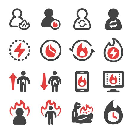 metabolism and burn icon set,vector and illustration