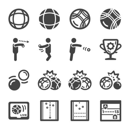petanque sport and recreation icon set,vector and illustration Stock Illustratie