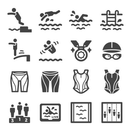 swimming sport and recreation icon set,vector and illustration Ilustração