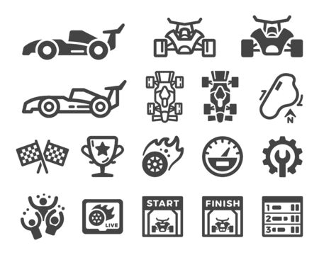 racing and car race icon set,vector and illustration Çizim