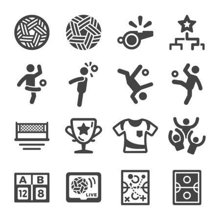 sepak takraw sport and recreation icon set,vector and illustration