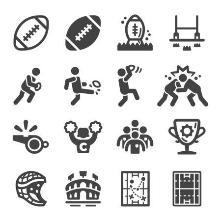 rugby sport and recreation icon set,vector and illustration Ilustração