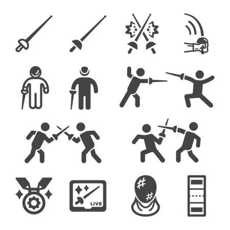 fencing sport and recreation icon set,vector and illustration Ilustração