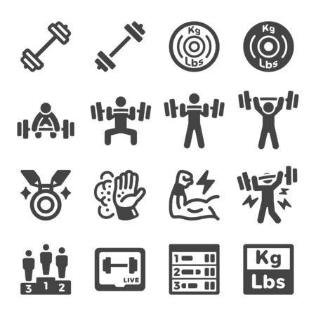 weight lifting sport and recreation icon set,vector and illustration