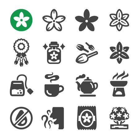 jasmine flower icon set,vector and illustration