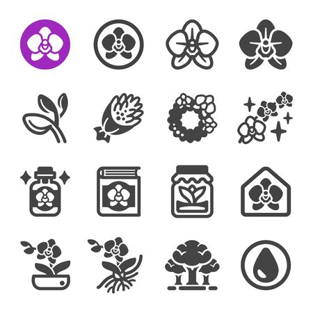 orchid flower icon set,vector and illustration