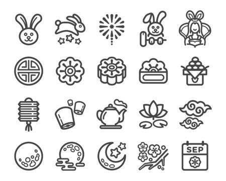 moon festival and mid autumn festival thin line icon set,vector and illustration Ilustracja