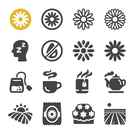 chamomile flower icon set,vector and illustration