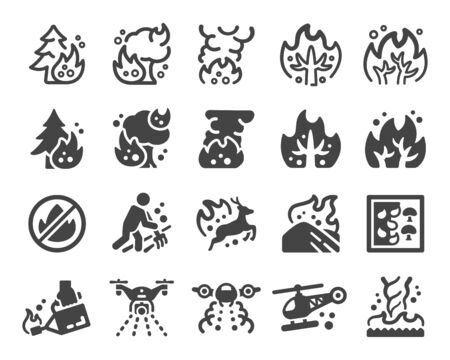 wildfire and fire disaster icon set,vector and illustration Ilustração