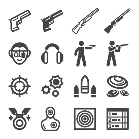 shooting and gun,sport and recreation icon set,vector and illustration