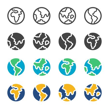 earth and globe in flat,outline,day mode,night mode style icon set,vector and illustration