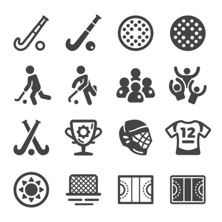 field hockey sport and recreation icon set,vector and illustration