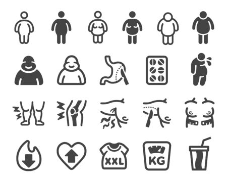 obesity and fatman icon set,vector and illustration Illustration