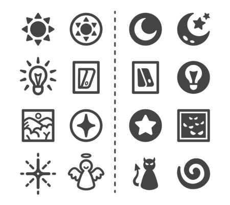 light and dark icon set,vector and illustration