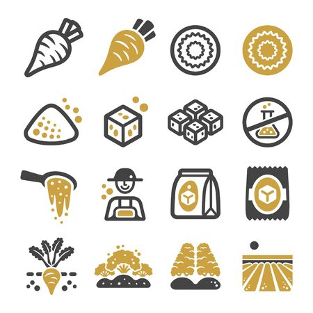 sugar beet and product icon set,vector and illustration Illusztráció