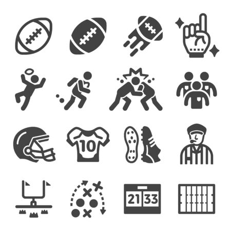 american football sport and recreation icon set,vector and illustration Çizim