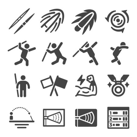 javelin throw sport and recreation icon set,vector and illustration