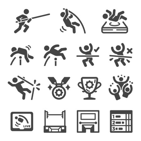 pole vault sport and recreation icon set,vector and illustration