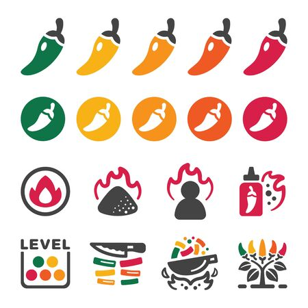 chili and hot pepper icon set,vector and illustration