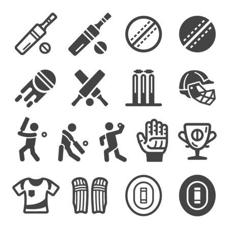 cricket sport and recreation icon set,vector and illustration