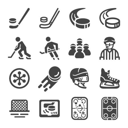 ice hockey sport and recreation icon set,vector and illustration Ilustração