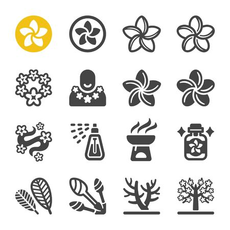 plumeria flower icon set,vector and illustration