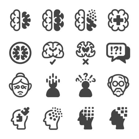 alzheimer disease icon set,vector and illustration Banco de Imagens - 149803302