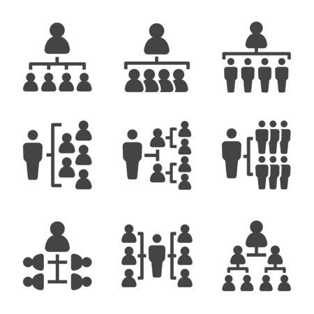 Organigramm mit Menschen-Icon-Set, Vektor und Illustration