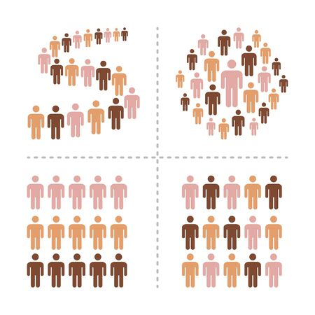 crowd of people with different skin colors icon set,vector and illustration Illustration