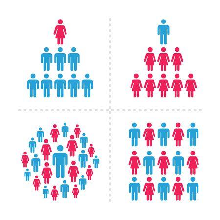 crowd of men and women icon set,infographic,vector and illustration Ilustração