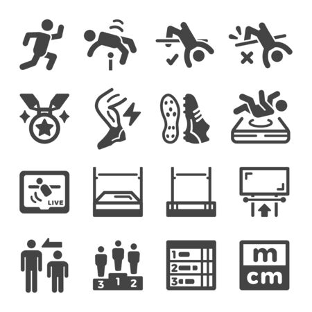High Jumping sport and recreation icon set,vector and illustration