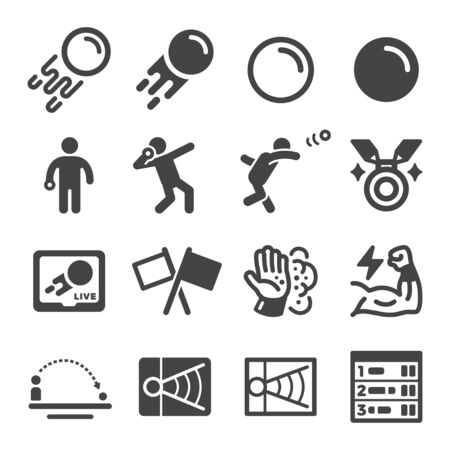 shot put sport and recreation icon set,vector and illustration