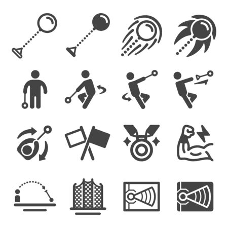 hammer throw sport and recreation icon set,vector and illustration